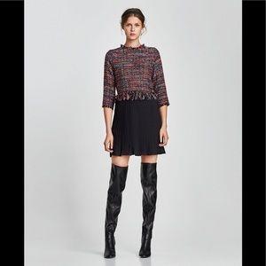 NWT Zara Basic Size Small Tweed Pleated Hem Dress